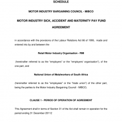 2012 Sick Accident and Maternity Agreement in the Motor Industry Bargaining Council MIBCO-01