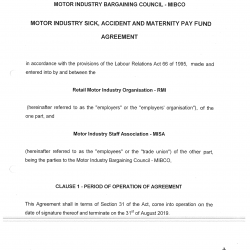 2015 Sick Accident and Maternity Agreement in the Motor Industry Bargaining Council MIBCO-01