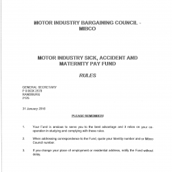 2016 Sick Accident and Maternity Pay Fund Rules MIBCO-01