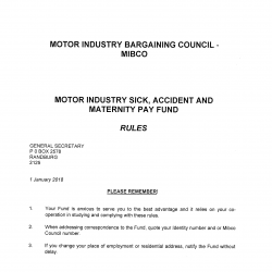 2018 Sick Accident and Maternity Pay Fund Rules MIBCO-01
