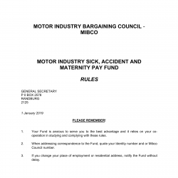 2019 Sick Accident and Maternity Pay Fund Rules MIBCO-01