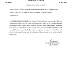 31 July 2015 Amended Administrative Agreement in The Motor Industry Bargaining Council-01